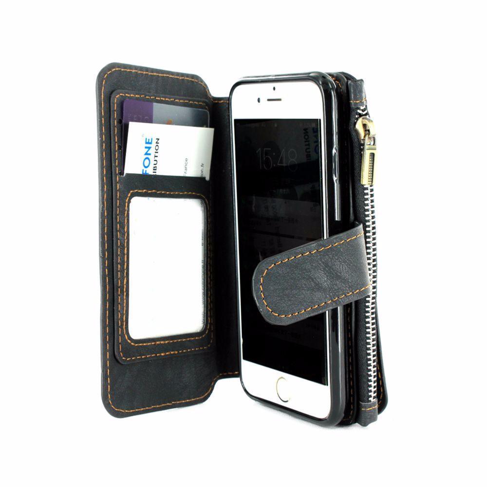 etui luxe noir porte monnaie avec coque et porte carte visite pour apple iphone 7. Black Bedroom Furniture Sets. Home Design Ideas