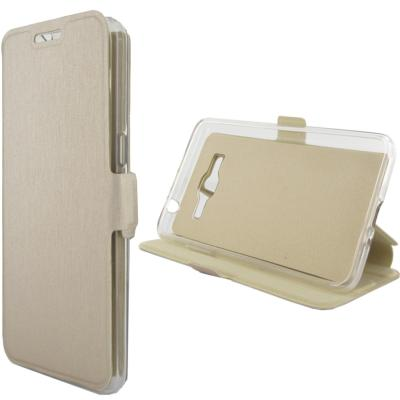Etui Rabattable Beige Champagne avec Support pour Samsung Galaxy Grand Prime G530
