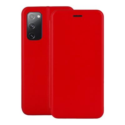 Etui Luxe Rabattable Rouge Simili Cuir Avec Support pour Samsung Galaxy S20 FE