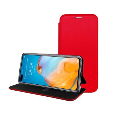 Etui Luxe Rabattable Rouge Simili Cuir Avec Support pour Huawei P40