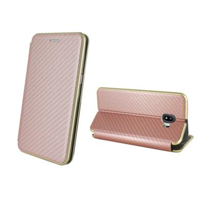 Etui Luxe Rabattable Rose Aspect Carbone pour Samsung Galaxy J2 2018
