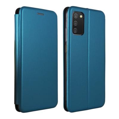 Etui Luxe Rabattable Bleu Simili Cuir Avec Support pour Samsung Galaxy A02s