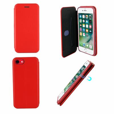 Etui Luxe Rabattable Rouge Simili Cuir Avec Support pour Apple iPhone 7