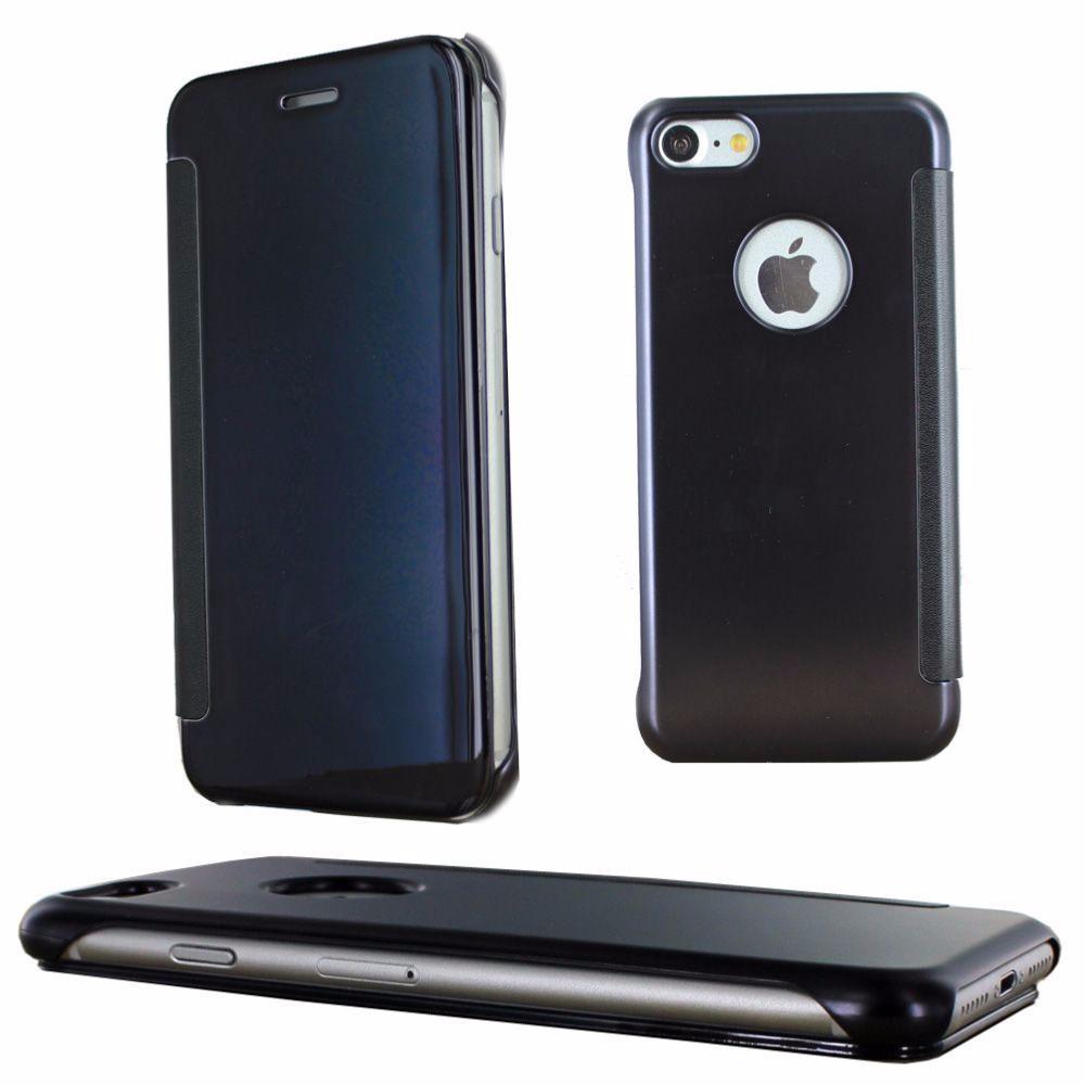 Coque etui housse noir avec effet miroir transparent pour for Effet miroir photo iphone