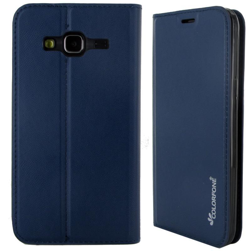 Etui Rabattable Luxe Bleu Nuit Avec Support Et Porte Carte De Visite Pour Samsung Galaxy J3