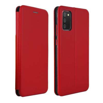 Etui Luxe Rabattable Rouge Simili Cuir Avec Support pour Samsung Galaxy A02s