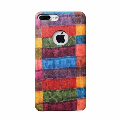 Coque Luxe Rigide Simili Cuir avec Motif Multicolore Croco pour Apple iPhone 7