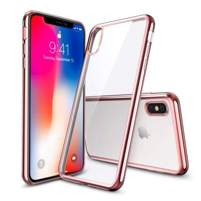 Housse Silicone Transparente Contour Chromé Rose pour Apple iPhone X